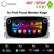 Ownice Android 10.0 samochodowy odtwarzacz DVD 2 Din radio GPS Navi dla Ford Focus Mondeo Kuga C MAX S MAX Galaxy Audio Stereo jednostka główna