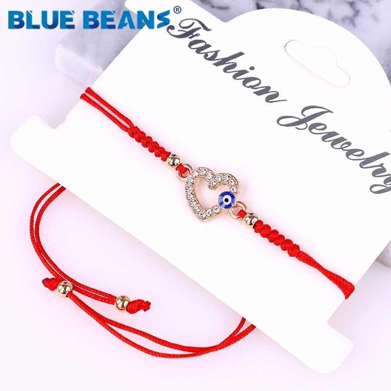 Bohême Bracelets arbre de vie femmes avec corde tressée perlée mauvais oeil Bracelets porte-bonheur cristal réglable coeur mode chanceux