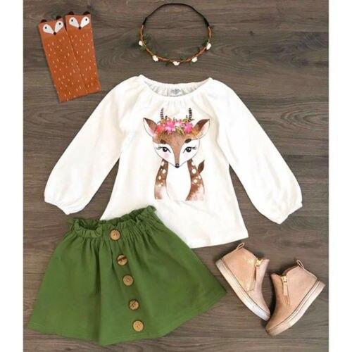 >Emmababy <font><b>2PCS</b></font> <font><b>Toddler</b></font> <font><b>Kids</b></font> Baby Girl Clothes Xmas Deer Tops +Skirts Autumn Outfit Clothes Set