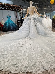 Image 2 - BGW 31121ht Королевское бальное платье, вечернее платье с 3d лепестками цветов, Тюлевое платье с длинными рукавами, круглым вырезом, бисером, Дубай, женское платье для особых случаев 2020