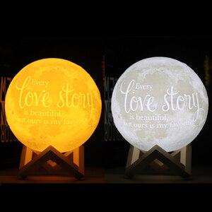 Image 2 - Dropship Foto/Texto Personalizado Lua Luz Da Noite Da Lâmpada 3D Impressão Recarregável Personalizado Sincronismo Luz Da Lua Presente para As Crianças, namorada