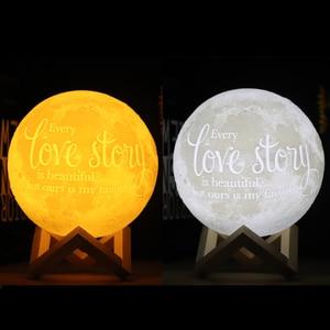 Image 2 - Dropship zdjęcie/tekst niestandardowa lampa księżycowa lampka nocna druk 3D akumulator spersonalizowany czas światło księżyca prezent dla dzieci, dziewczyna
