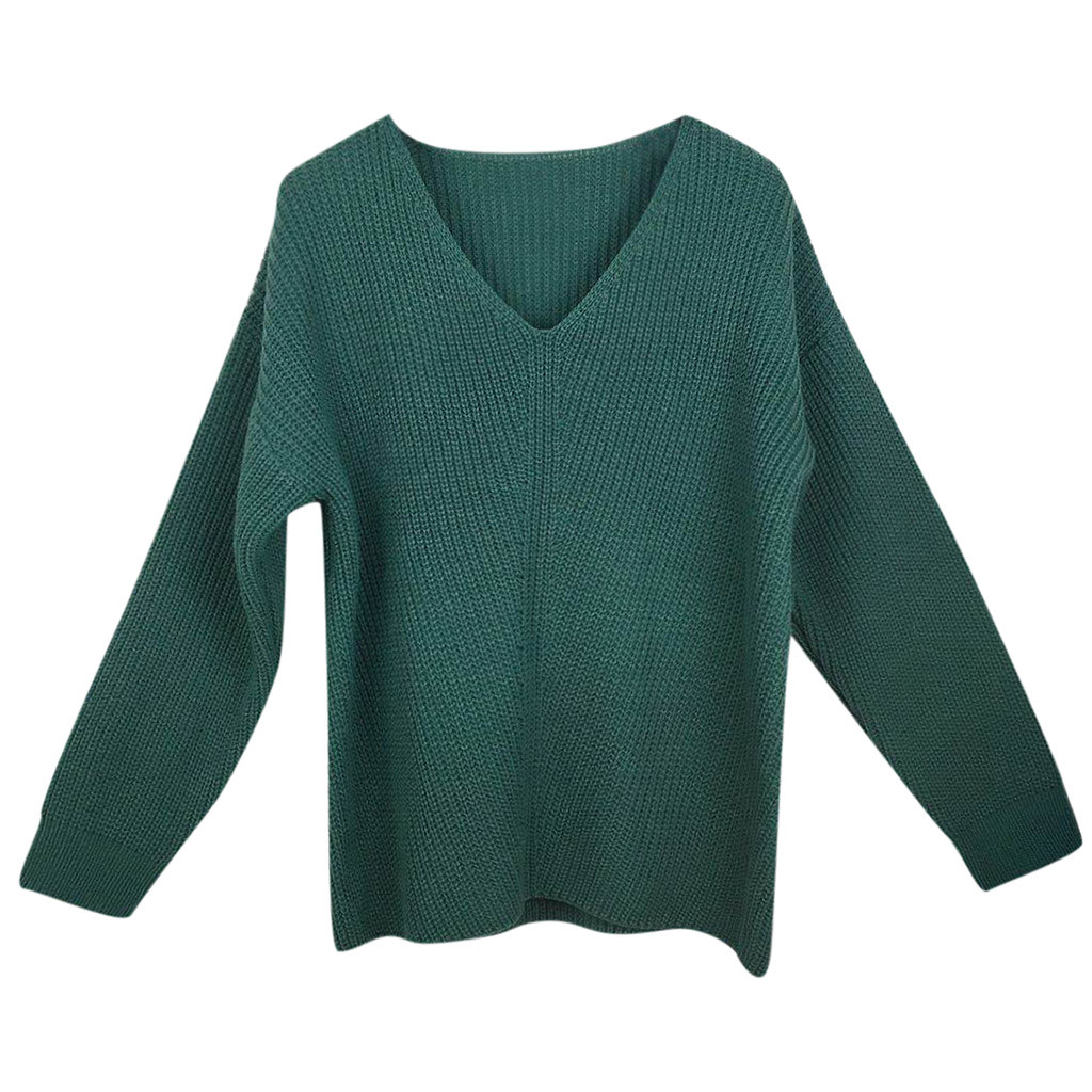 Women pullovers knitwear sweater Fashion Casual Slim Fit Long Sleeve V-neck slim long sleeve badycon cheap 9.18