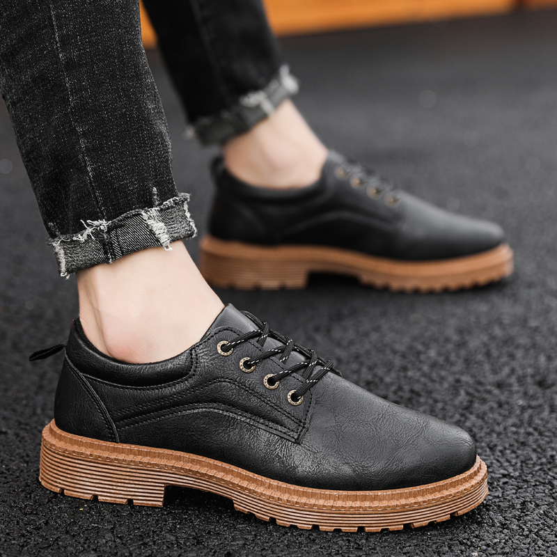Thick Sole Fashion Sneakers Leather Men Casual Shoes Footwear Zapatillas Hombre Male Designer Shoes Leather Men Black Shoes Flat in Men 39 s Casual Shoes from Shoes