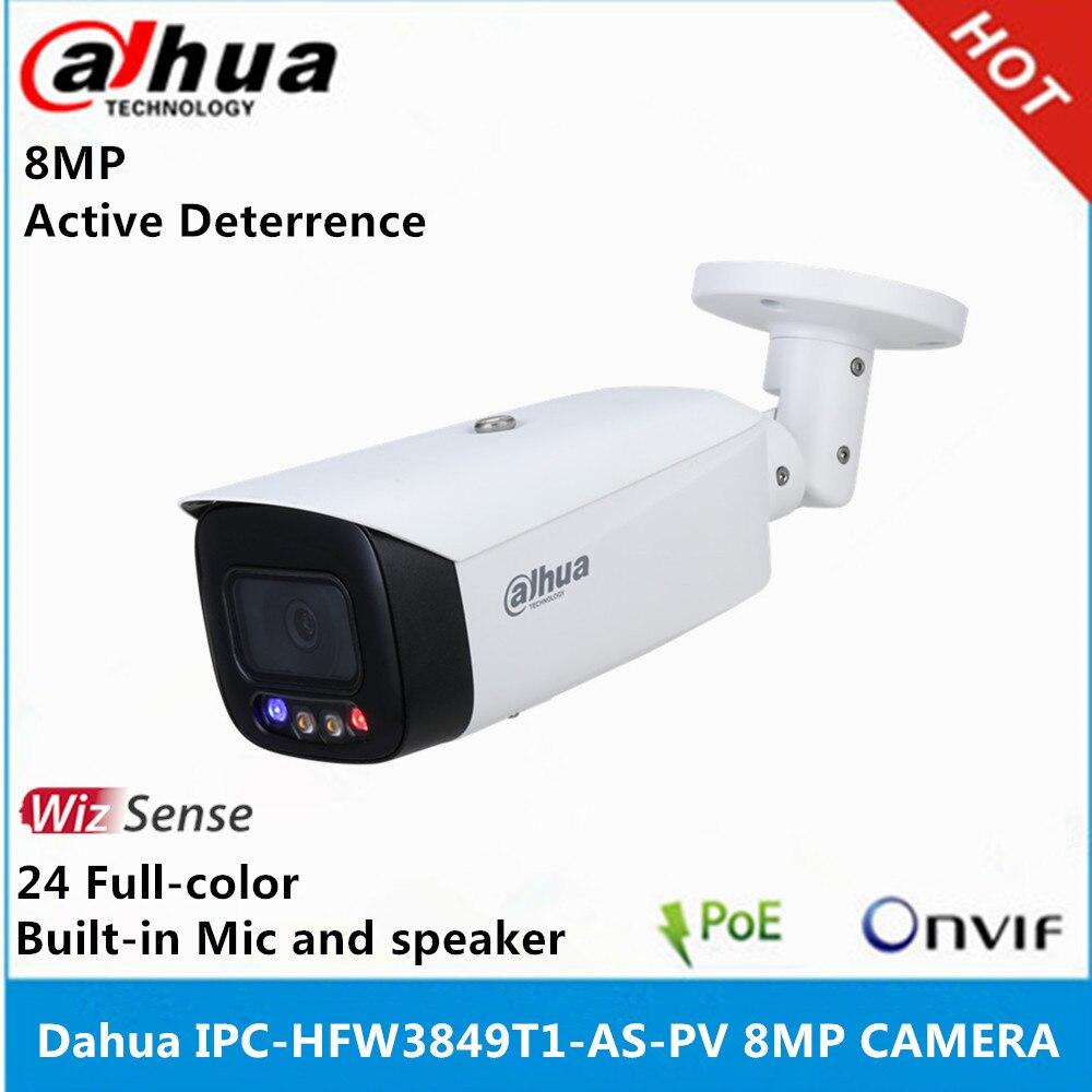 Dahua 4k ip câmera IPC-HFW3849T1-AS-PV 8mp 24 horas de cor cheia ativa dissuasão fixo-focal bala wizsense câmera de rede