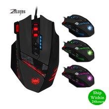 Zelotes C 12 有線 usb 4000 dpi 光学ゲーミングマウス 12 プログラマブルボタンコンピュータゲームマウス 4 調整可能な dpi 7 led ライト