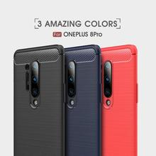 Soft Cover Full Protection Carbon Fiber TPU Silicone Matte Phone For Oneplus 8 8Pro 7T 7TPro 7 7Pro 6 6T Case
