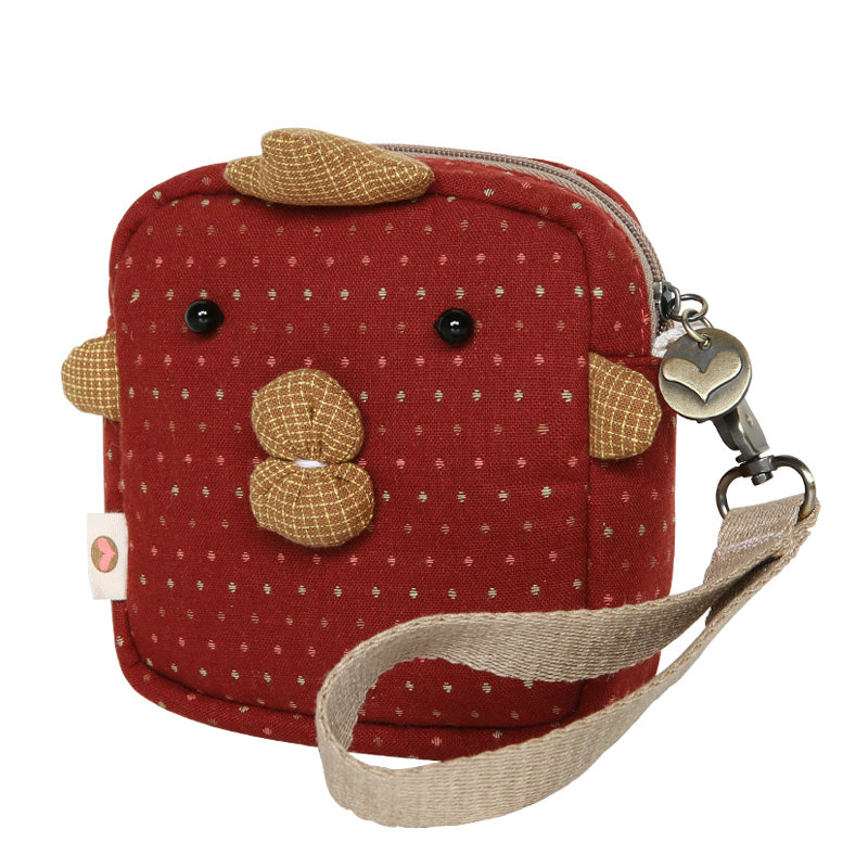 Funny Small Wallet Female Square Coin Purse Cute Net Red Coin Bag Girl Student Fabric Coin Purse