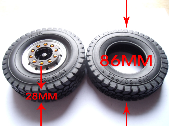 <font><b>1/14</b></font> <font><b>Tamiya</b></font> Tractor 1.7'' Wheel Tire 85mm Rubber Tires 315/80/R22.5 Tire Skin Wheelswith 1.7 inch Wheel Hub for <font><b>RC</b></font> <font><b>Trucks</b></font> image