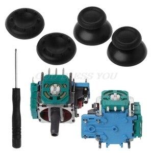 Potenciómetro de módulo de eje analógico 3D, Joystick negro, cubiertas de silicona, juego de destornillador de reemplazo para PS4 Playstation 4