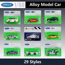 WELLY Diecast 1: 60 voertuig Mini Model Auto Toyota Corolla/Luchthaven Bagage Auto Bus Tractor Legering Metalen Speelgoed Auto Kid Geschenken