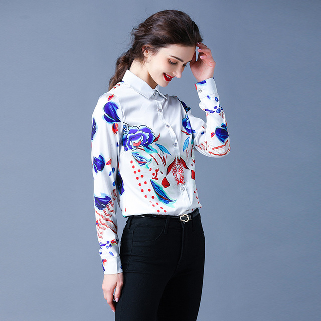 Simgent Floral Blouses Womens Long Sleeve Stripe Flower Printing Turn Down Collar Work Office Tops Woman Shirts Blusas SG911088 5
