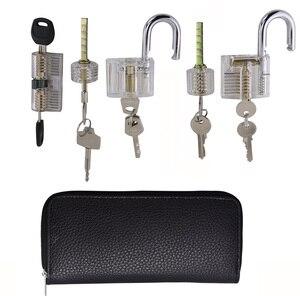 Image 5 - 9pcs Transparent Locks with 24pcs GOSO Titanium Locksmith Tools Broken Key Remove Pick Kit Lock Practice Set