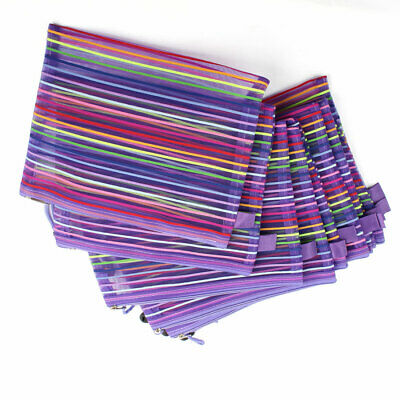 Zip Closure Gridding Bag A5 Paper File Folder Pen File Bag 10 Pcs W Purple Strap
