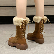 2019 New Women Snow Boots Warm Suede Fashion Combat For Autumn Winter Plush Leather Platform