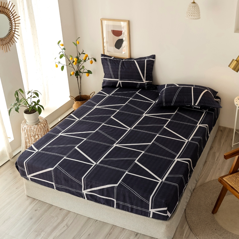 Bonenjoy 3 pcs Fitted Bed Sheets Single drap de lit Geometric Pattern Stitching Mattress Cover with elastic For Double Bed Sheet 1