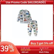 SAILEROAD dinozaur drukuj kostiumy dla chłopców odzież z długim rękawem jesień dwuczęściowy maluch Boy odzież ustawia ubrania bawełniane zestaw