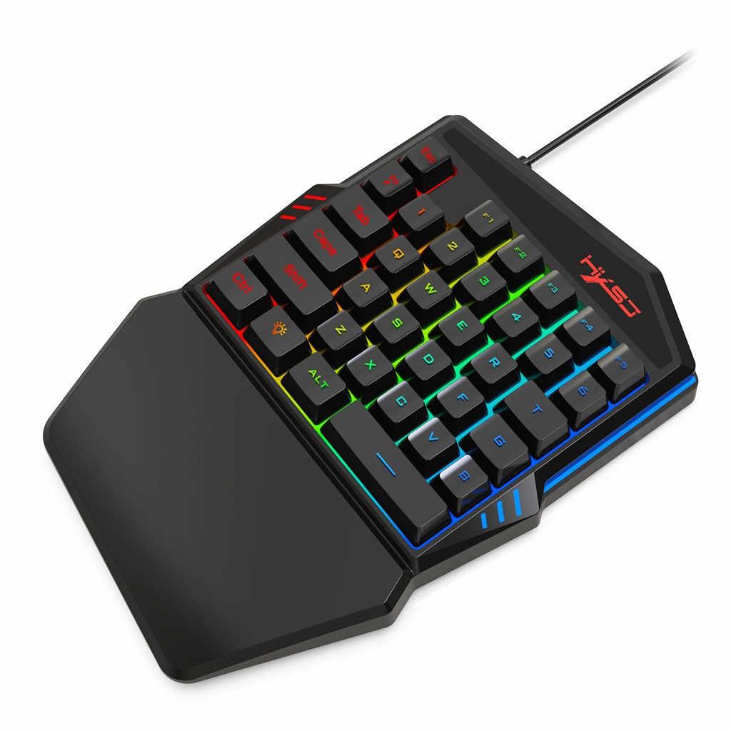 Keyboard Mouse Set 35 Kunci Mini USB Kabel Keyboard + Mouse Hadiah Ergonomis 6400 Dpi Gamer Gaming Mouse Keyboard Multicolor kembali