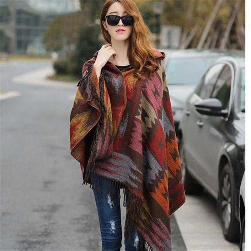 2019 Women Winter Boho Hooded Coat Poncho Female Cashmere Scarves Ladies Warm Shawls And Wrap Pashmina Thick Capes Blanket Scarf
