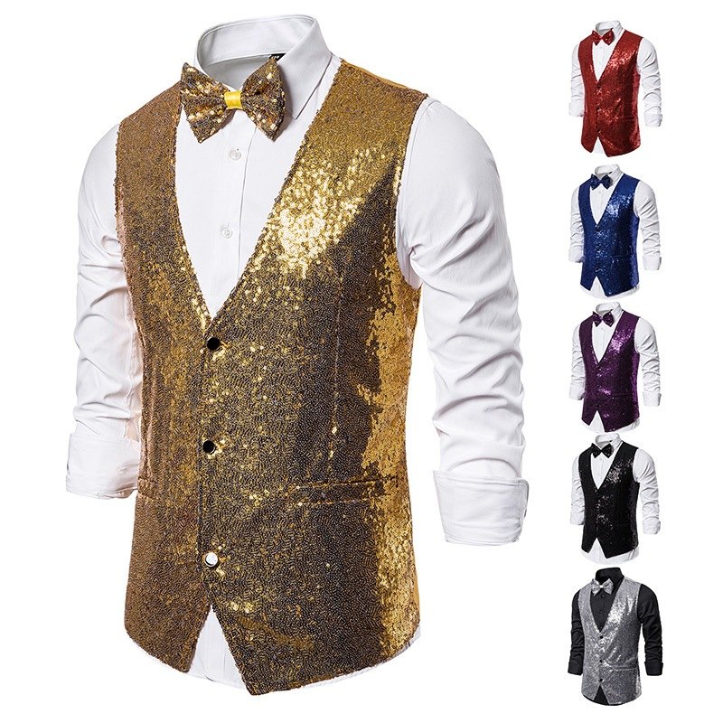 Purple Sequins Vest Men Slim Fit V Neck Suit Vest Waistcoat Men DJ Nightclub Singers Perform Vests Male Stage Blazer