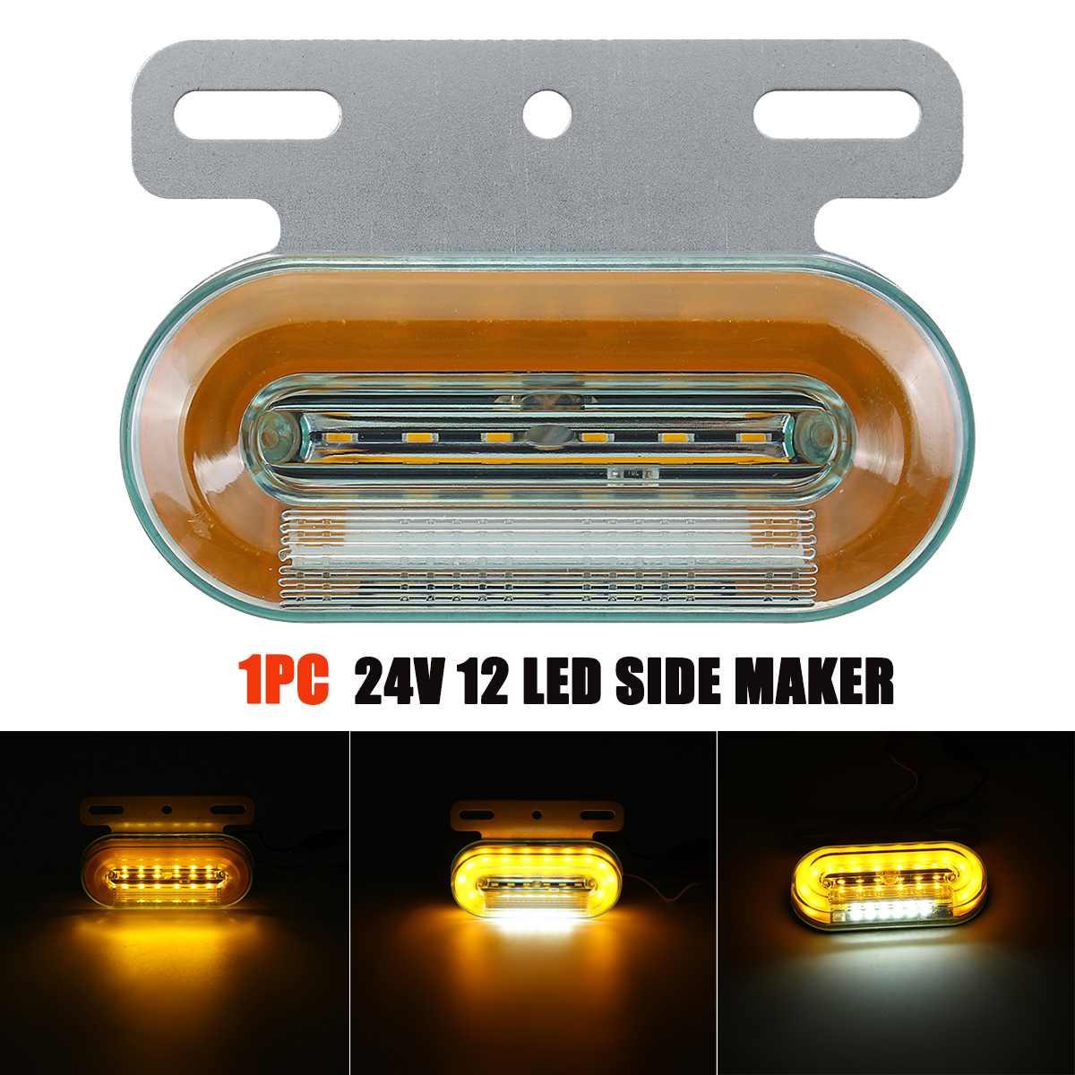 24V 12 LED Side Marker Lights Car External Lights Signal Indicator Lamps Warning Tail Light 3 Modes Trailer Truck Lorry