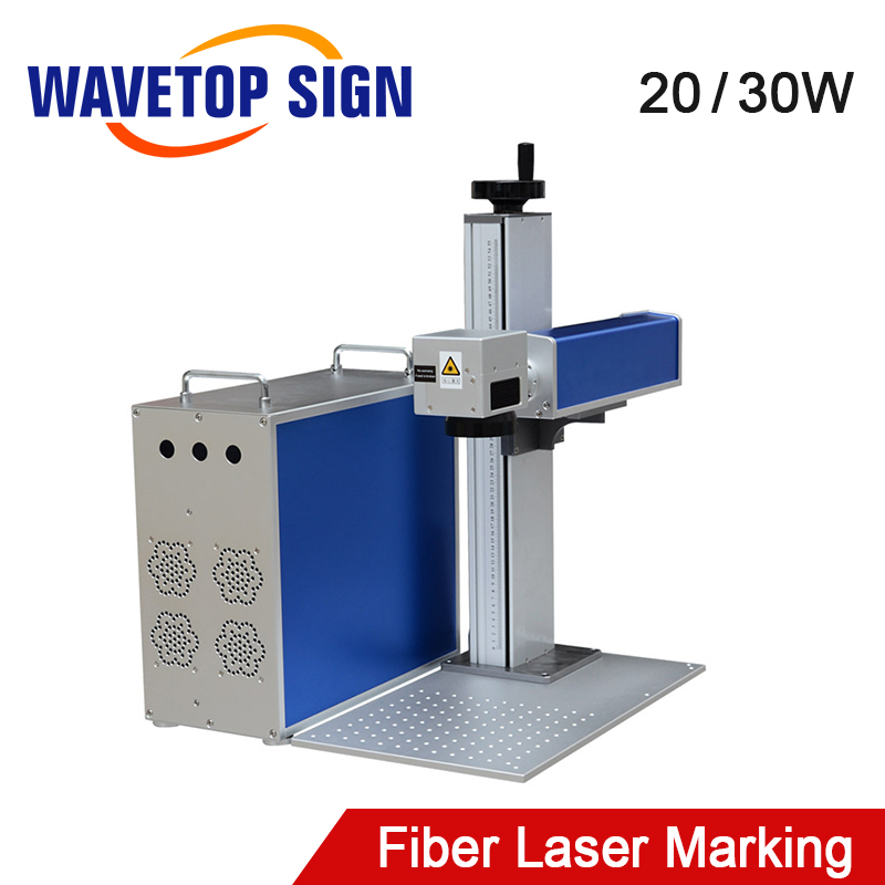 WaveTopSign 20W 30W Fiber Laser Mark Machine Body + Control Box+Lift Worktable+Laser Path+Aluminum Plate Base Can Use Max Laser
