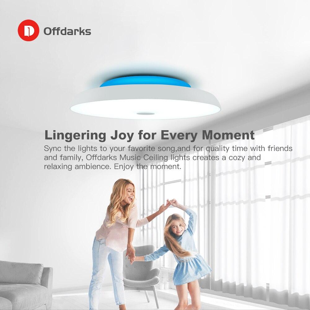 Moderno led luzes de teto pode ser escurecido 36 w 48 72 app controle remoto bluetooth música luz alto falante foyer quarto lâmpada do teto inteligente - 6