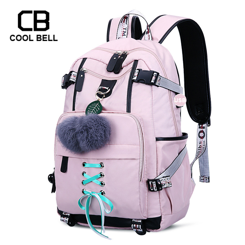 Anti-theft Backpack USB School Bags For Girls Teenager Pink Backpack College Large Daypack Women Travel Backpack Girls Schoolbag image
