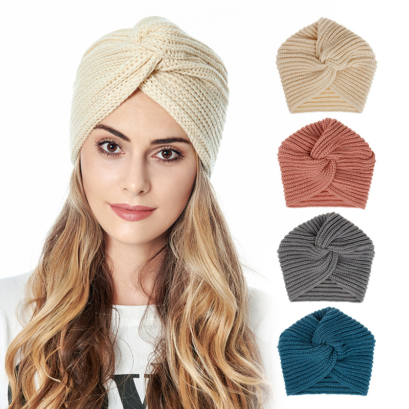 Women Autumn Winter Knot Bandana Turban Resuable Foldable Bonnet Hat Night Cap Sleep Head Cover Solid Color Headwrap Headscarf