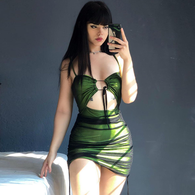 Women Sexy Black Mesh Patchwork Bodycon Mini Dress Spaghetti Strap Cut Out Green Dress Lace Up Ruched Slim Robe 2021 Summer 3