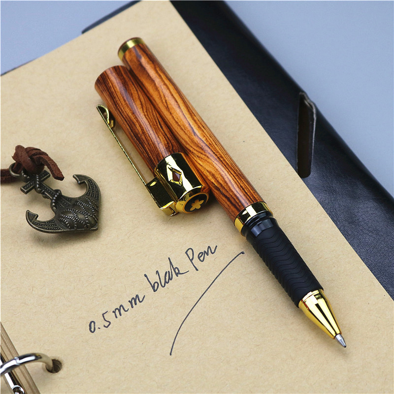 Wood Grain 0.5mm Gel Pen Plastic Pen Rubber Slip Grip School Office Writing Gift Supplies