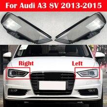 Copertura anteriore trasparente per Auto per Audi A3 8V 2013 2015 tappi paralume Shell copertura automatica per faro in vetro leggero