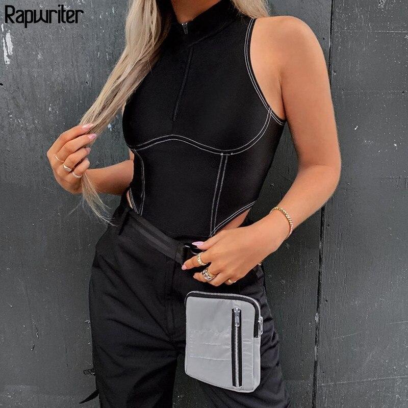 Rapwriter Streetwear Stripe Line Turtleneck Zipper Sexy High Waist Bodysuit Women 2020 Off Shoulder Basic Open Crotch Body Tops