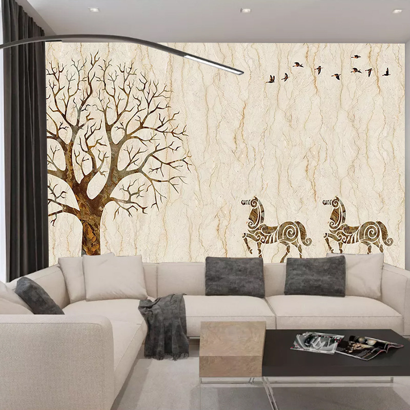 Simple Marble TV Backdrop Customizable Living Room Sofa Wall Wallpaper Bedroom Wallpaper Mural Seamless Wall Cloth