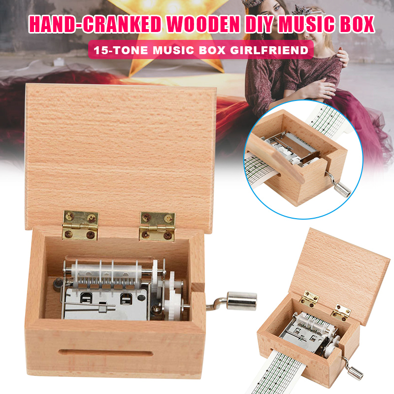 DIY Hand-cranked Music Box Wooden Box With Hole Puncher And Paper Tapes M09
