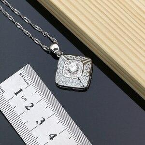 Image 4 - Farba gumowa srebro 925 biżuteria biała cyrkonia sześcienna zestawy biżuterii dla kobiet Party kolczyki/wisiorek/pierścionki/bransoletka/naszyjnik zestaw