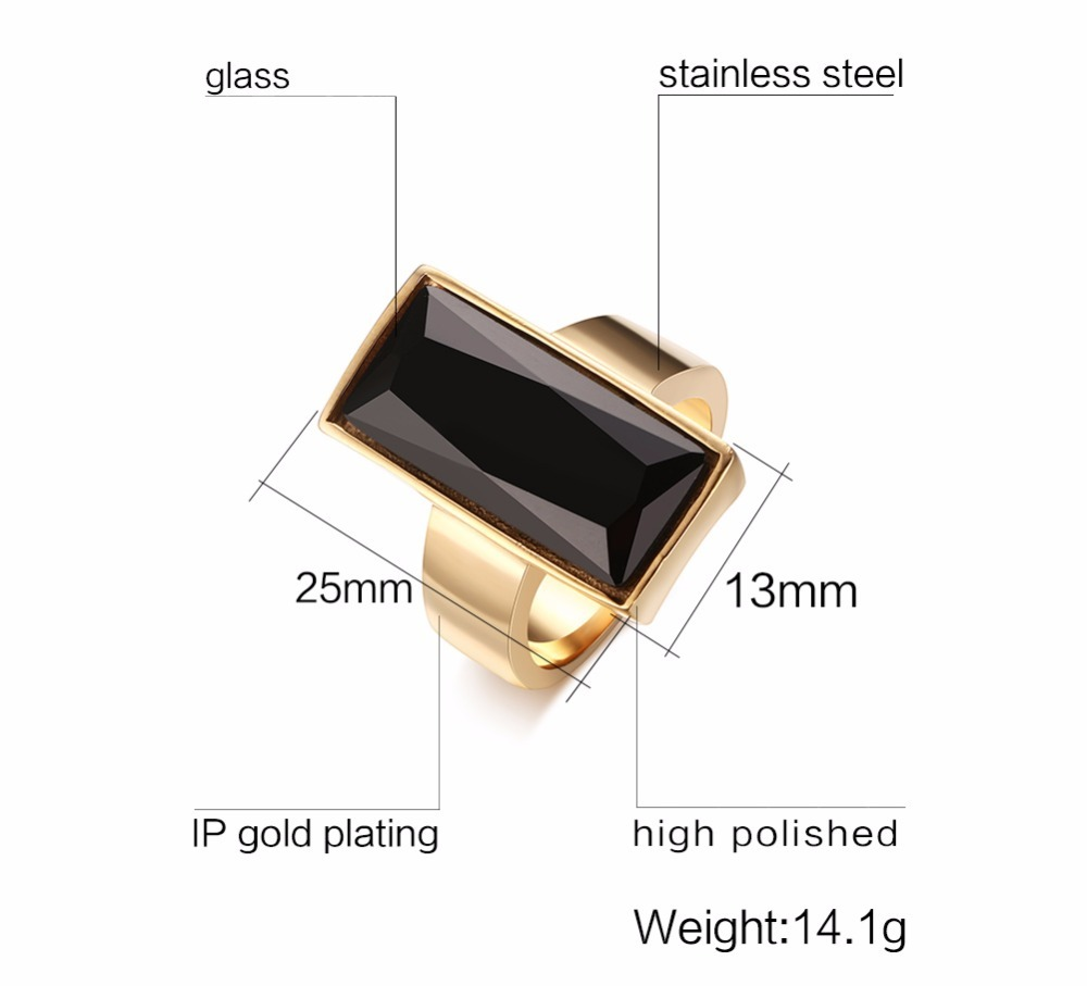Mens Womens Rings Stainless Steel Gold-color Rectangular Black Glass Crystal Ring for Women Fashion Jewelry,Best Friend Gift anel masculino 13