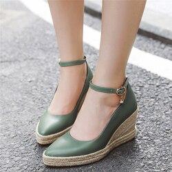 Zapatos clásicos de cuña alta para mujer, zapatos de tacón alto con correas de tobillo, informales, de oficina, boda, color blanco y verde
