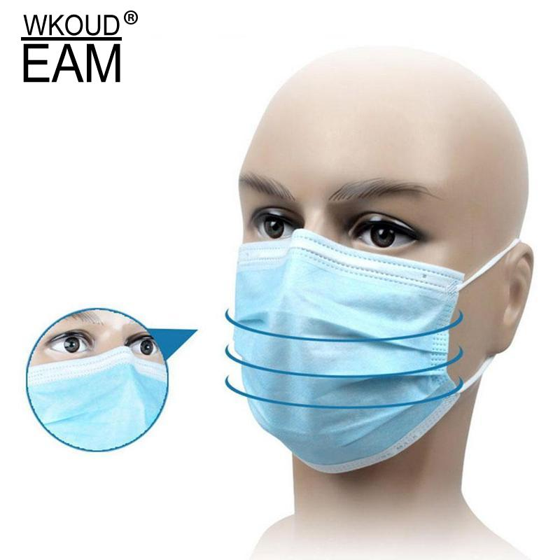 10 Pcs/pack Disposable Non Woven Face Mask 3 Layers Dental Earloop Activated Carbon Anti-dust Bacteria Proof Flu Mouth Mask