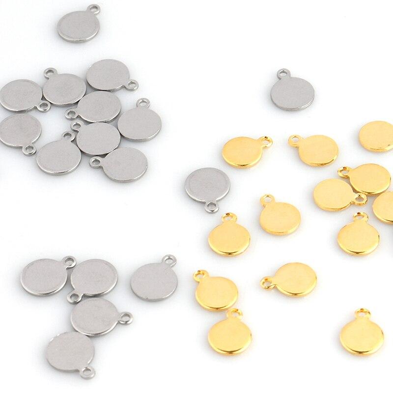 20 штук/партии Золото Подвеска из нержавеющей стали круглый штамповки пустые ожерелья Dog Tag для