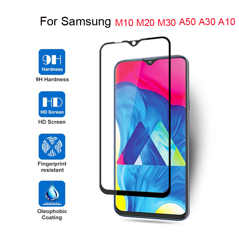 Image 2 - 9H Tempered Glass For Samsung Galaxy A20 A10 A50 A40 A30 A60 A20e A70 Screen Protector For Samsung A70 M30 M30S A20e Full Cover-in Phone Screen Protectors from Cellphones & Telecommunications