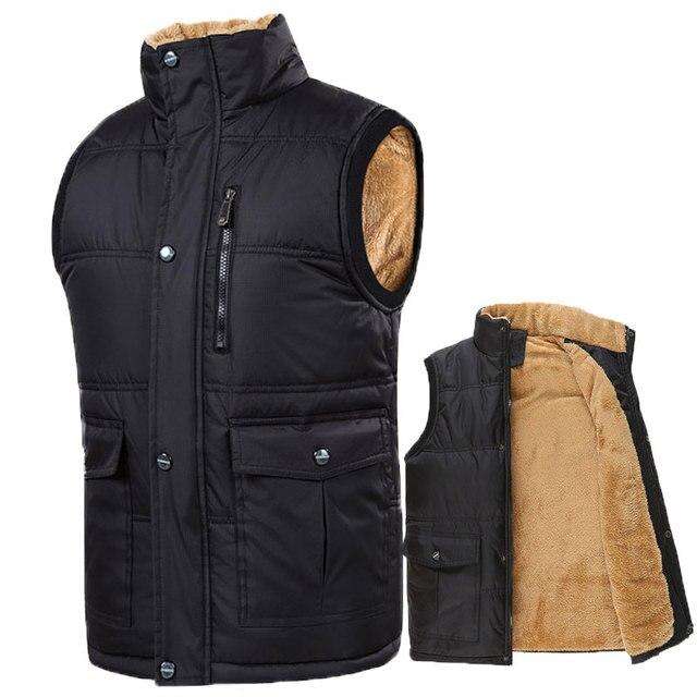 Autumn Winter Fleece Mens Vest Casual Mens Sleeveless Solid Color Black Warm  Plus Size 7XL Thick Mens Vest Jacket Casaco Gilet