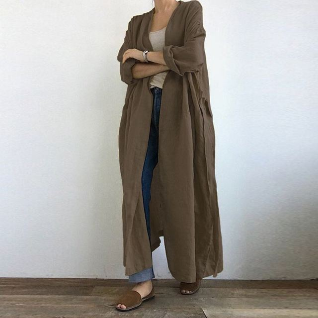 ZANZEA Fashion Women Autumn Blouse Long Sleeve Open Front Long Cardigan Vintage Solid Lace Up Shirt Loose Tunic Top Kimono