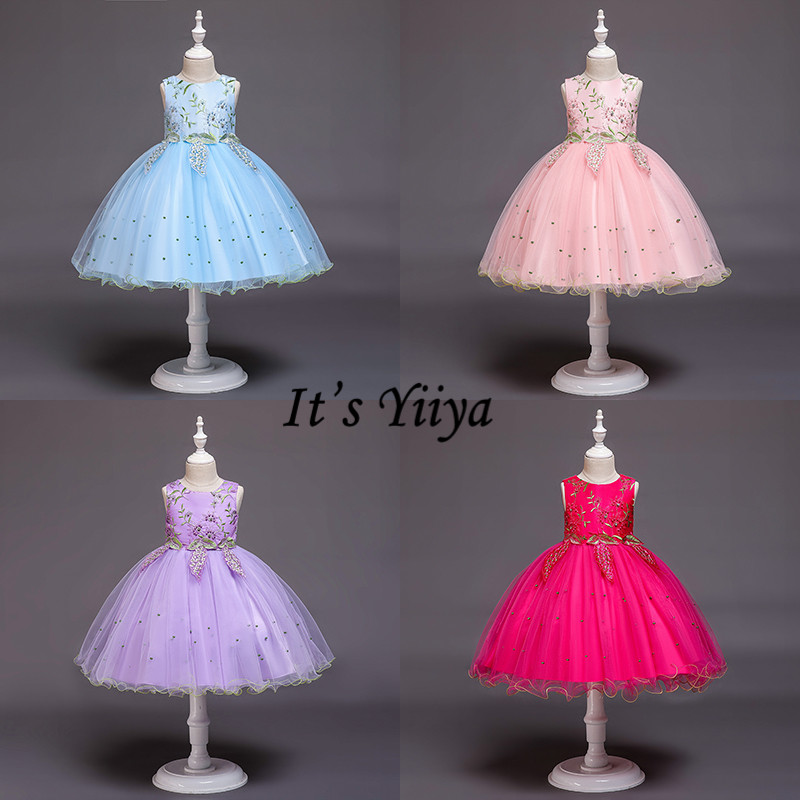 It's YiiYa Flower Girl Dresses 5 Colors Sleeveless Kids Party Evening Dresses Elegant O-Neck Beading Girls Pageant Dresses 838