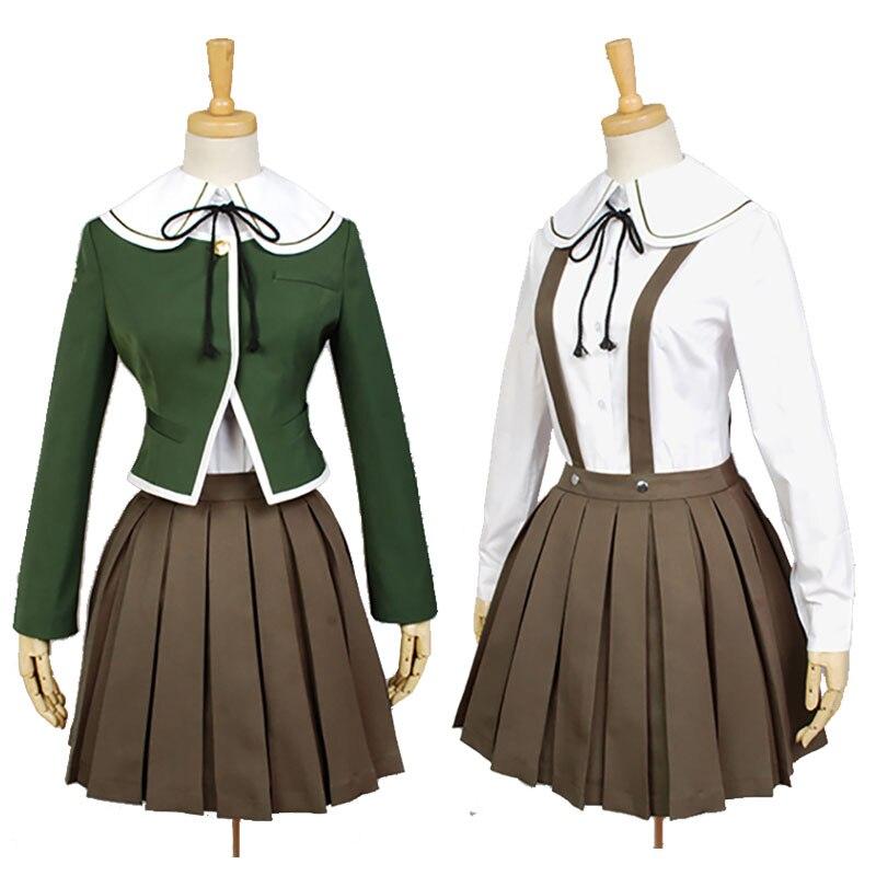 Danganronpa Fujisaki Chihiro Cosplay Costume JK Girls School Uniform Sailor Suit Coat Shirt Dress Outfit Cosplay Wig Drop Ship