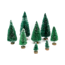 8pcs/set Artificial Mini Christmas Tree Snow Frost Small Pine Tree DIY Crafts Desktop Decoration Christmas Decoration Ornaments