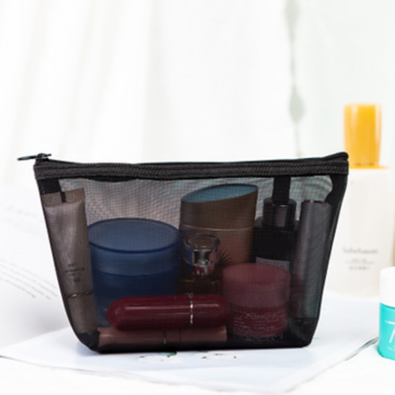 3pcs Mesh Makeup Bags Zipper Pouch See Through Cosmetic Bag For Home Offices Travel  MUG88