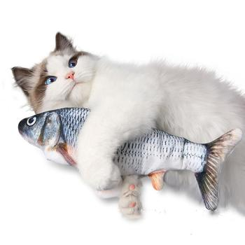 Christmas 30CM Cat Toy Fish USB Electric Charging Simulation Dancing Jumping Moving Floppy Fish Cat Toy For Cats Toys Interactiv