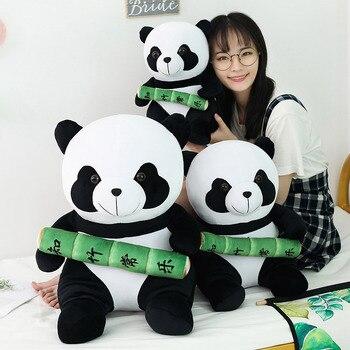 Nuevo Panda lindo con juguete de felpa de bambú suave peluche Animal mascota oso muñeca decoración del hogar sofá almohada cojín niñas regalo
