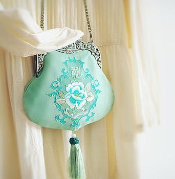 2020 Angelatracy Green Court Bag Floral Embroidery Japan Lolita Black Big Chain Women Handbag Metal Frame Tote Crossbody Bag